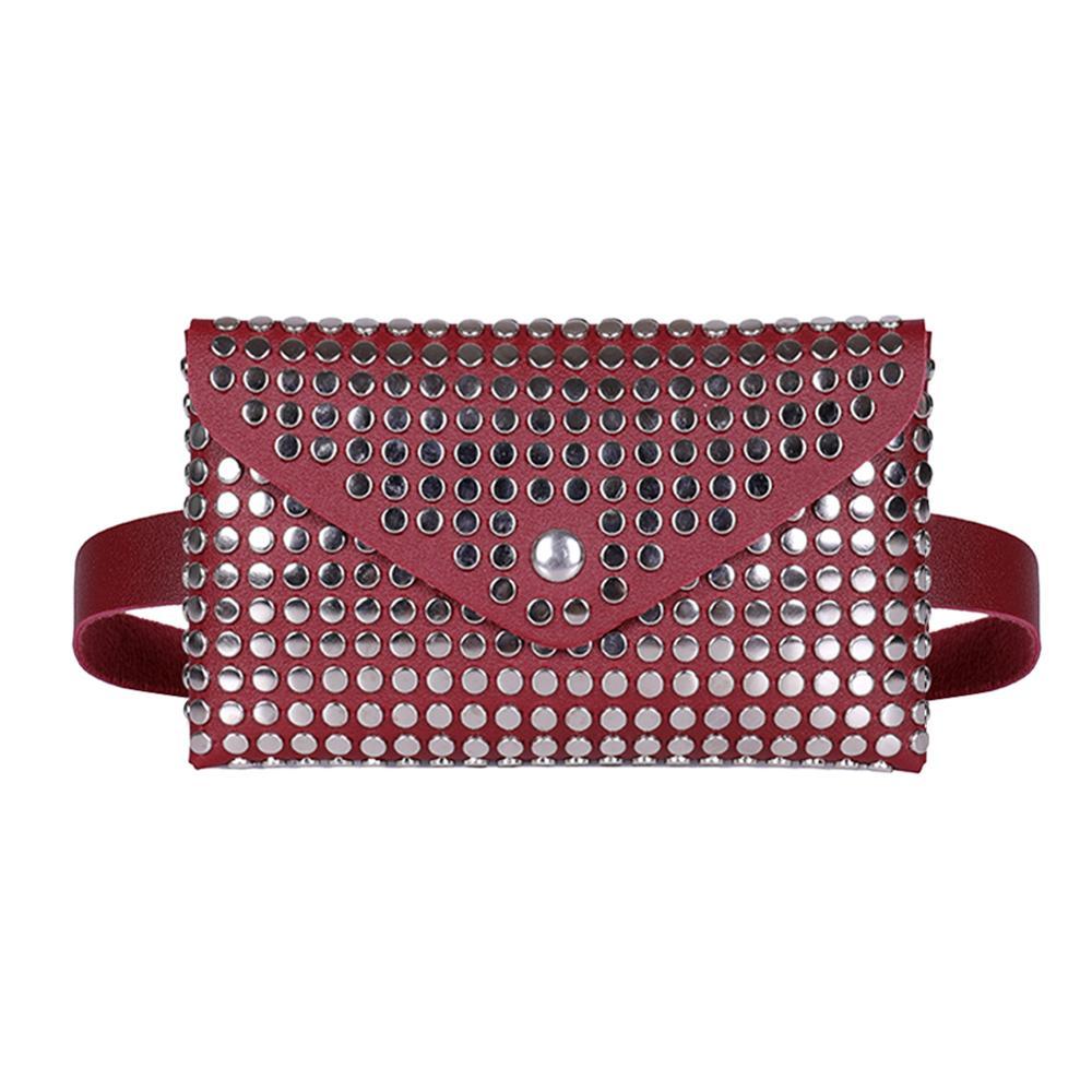 Fanny Pack Women Belt Bag Leather Waist Bag Fashion Rivet Flip Leather Shoulder Clutch Women Waist Pack Chest Crossbody Bag
