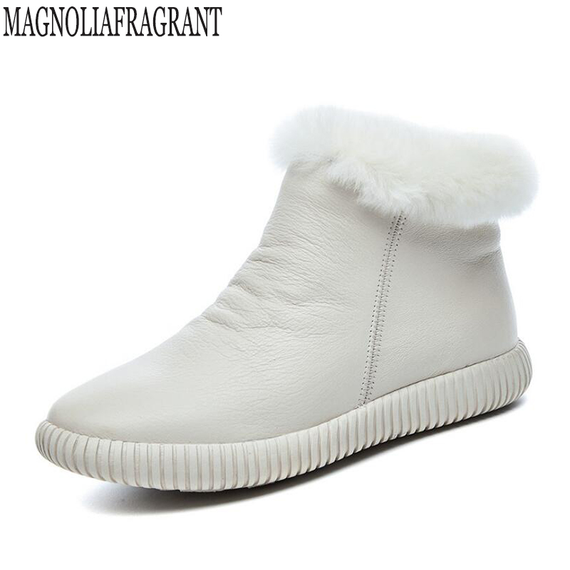Genuine leather Snow boots women High quality Women s Boots Rabbit hair Winter Boots for women