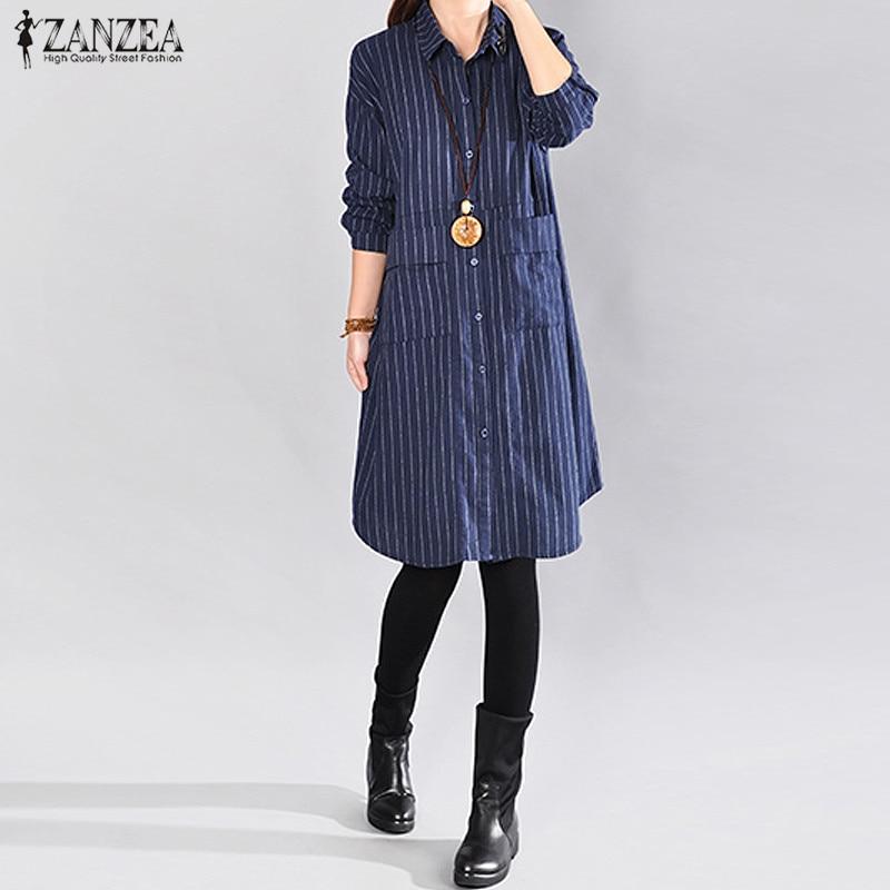 2018 ZANZEA Autumn Women Stripe Lapel NeckButtons Down Pockets Long Sleeve Long Blouse Shirt Casual Loose Top Blusas Plus Size