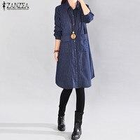 2018 ZANZEA Autumn Women Stripe Lapel NeckButtons Down Pockets Long Sleeve Long Blouse Shirt Casual Loose