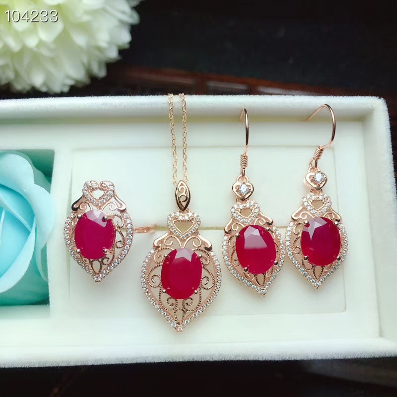 KJJEAXCMY boutique jewels 925 sterling silver inlaid natural ruby gemstone female ring pendant necklace earrings luxury support