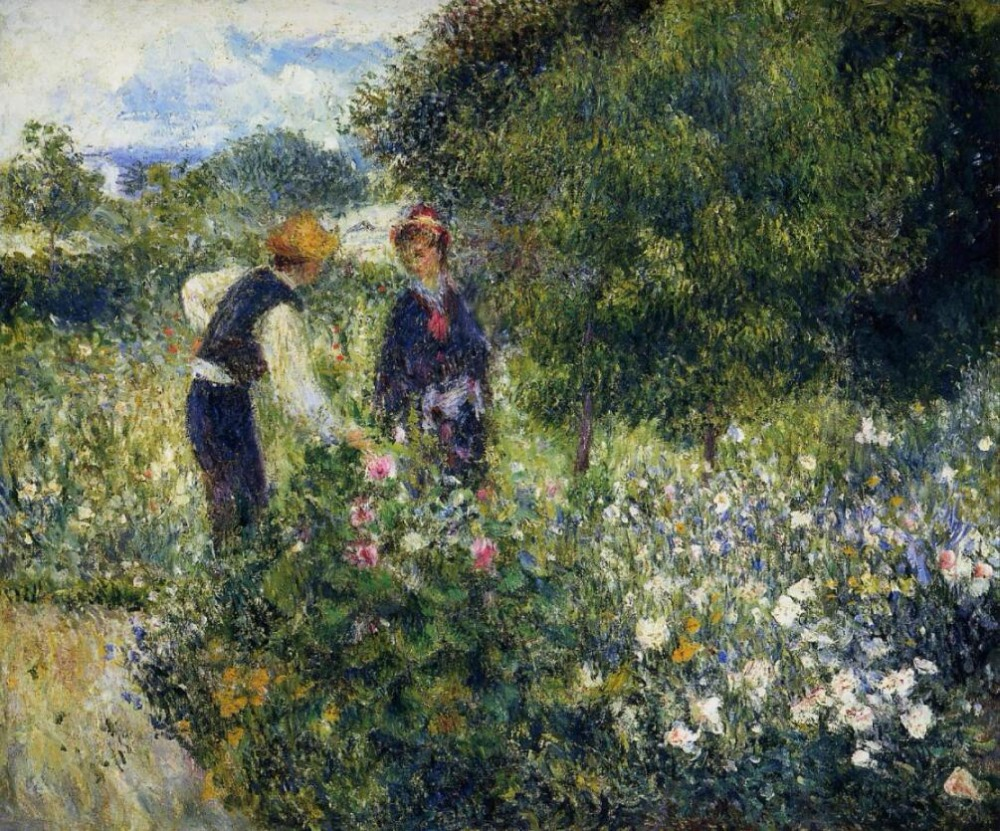 Reproductions de toile de peinture à l'huile de haute qualité cueillant des fleurs par Pierre Auguste Renoir peint à la main