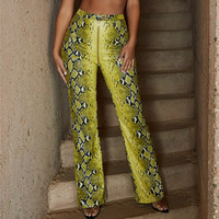 Snake Print Leather Pants Women 2018 New Fashion Autumn Spring Trousers Yellow