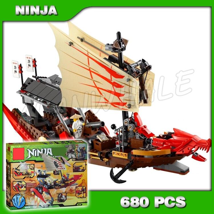 680 pièces Ninja destin's Bounty bateau Dragon 9762 modèle blocs de construction briques enfants enfants jeux de films jouets compatibles avec Lego