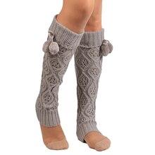 891fd47195a4f Women Fashion Knitting Footless Leg Warmers Knee High Boot Socks with Fur  Ball New Year's Socks
