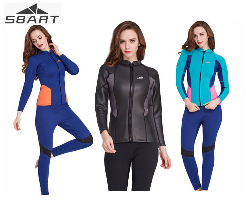 2mm Women Jacket Warm Diving Suits Snorkeling Suits Swim Suits Swimwear Black Neoprene Nylon Long Sleeve