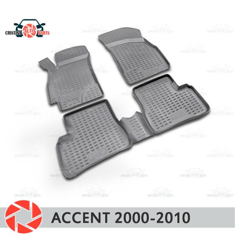 Para Hyundai Accent 2000-2010 alfombras alfombrillas antideslizantes de poliuretano protección de suciedad accesorios de diseño de coche interior
