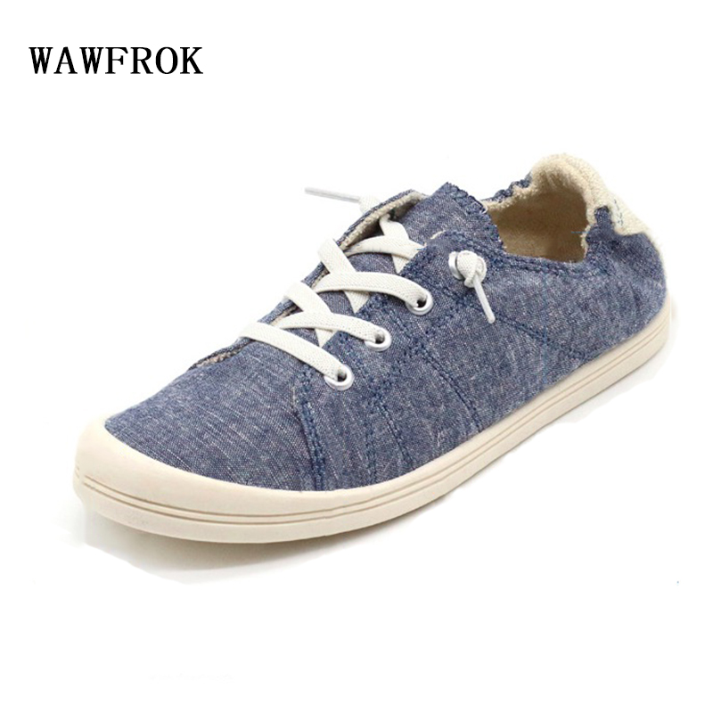 WAWFROK Cotton Fabric Women Casual Shoes 2018 Summer Spring Sneakers Breathable Women Flats Lace-Up Ultralight 2018 summer sneakers women fashion breathable lycra women casual shoes light soft flats shoes lace up casual women shoes