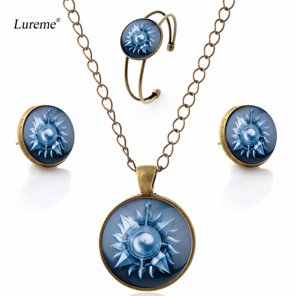Lureme Women Glass Time Gem Game of Thrones Pendant Necklace Stud Earrings Bangle Jewelry Sets (js000725)