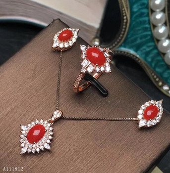 KJJEAXCMY boutique jewels 925 sterling silver inlaid Natural Ruby Red Coral Pendant Necklace Ring Earring finger suit support