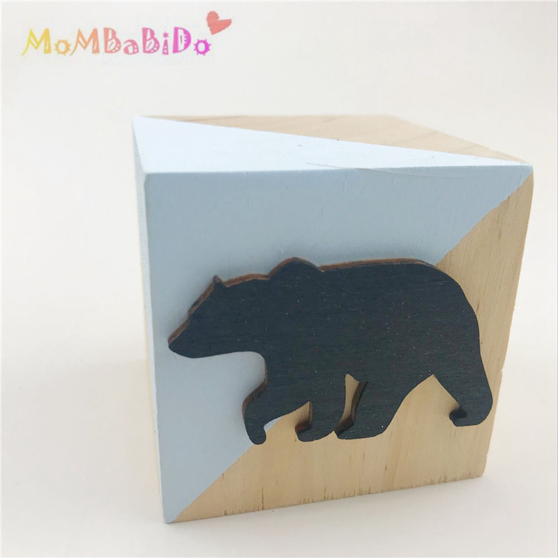 3pcs set Home Original Wooden Blocks Toys Bear Wood Articles Baby Kids Toys Girl Photography Props Environmental Protection Toy in Blocks from Toys Hobbies