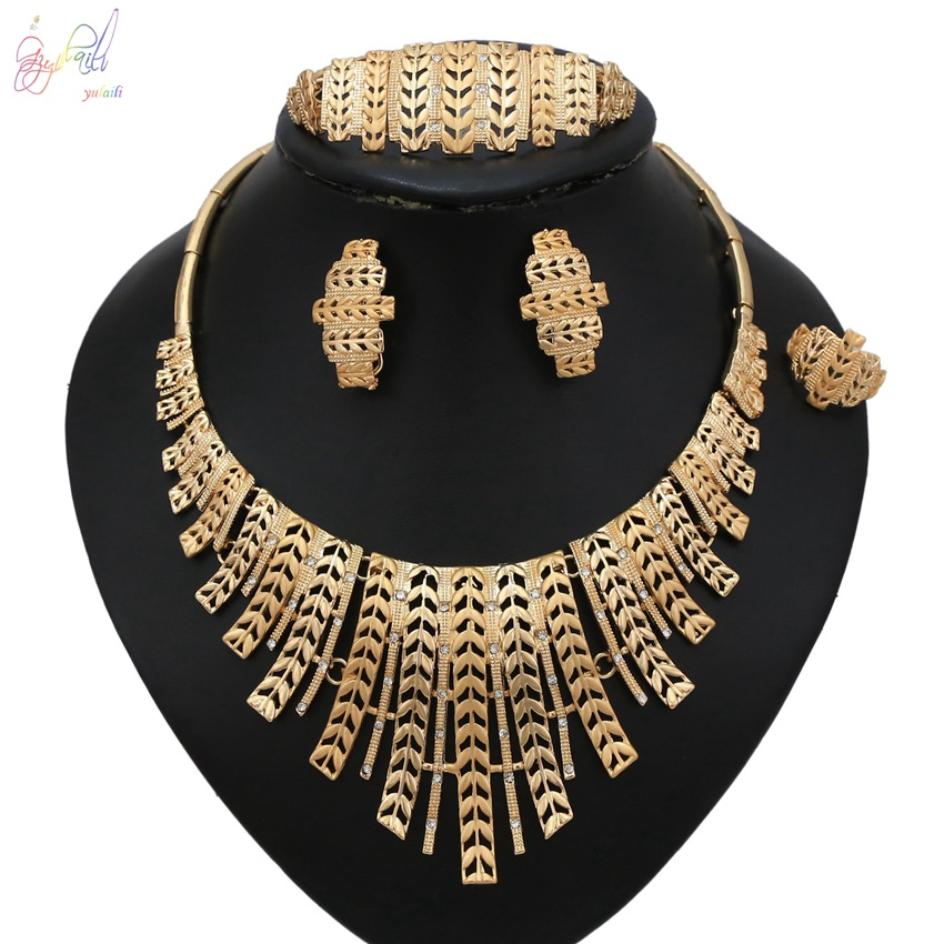 YULAILI Free Shipping High Quality Hot Selling Gold Color Ladies Costume Four Pieces Jewelry SetsYULAILI Free Shipping High Quality Hot Selling Gold Color Ladies Costume Four Pieces Jewelry Sets