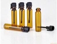 4000 unids/lote 1 mL portátil recargable botella de perfume de vidrio marrón con tapón negro y aceites esenciales vacíos paquete de prueba tubo #