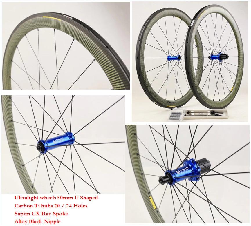 Carbon Ti hubs Sapim CX Ray Spoke 3K Kevlar Clincher Carbon Road Wheelset Basalt Brake Light Weight 700C 50mm Bicycle Wheels