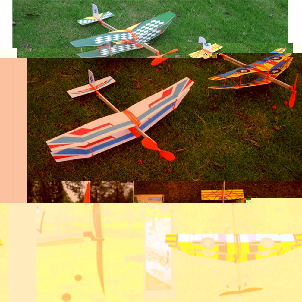 50*43cm Toy Rubber Band Powered Glider Biplane Assemble Aircraft ...