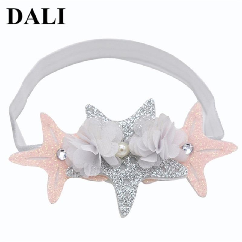 Baby Star Opaski Sliver Pink White Menina Kwiaty Hairbands Dzieci - Odzież dla niemowląt - Zdjęcie 1
