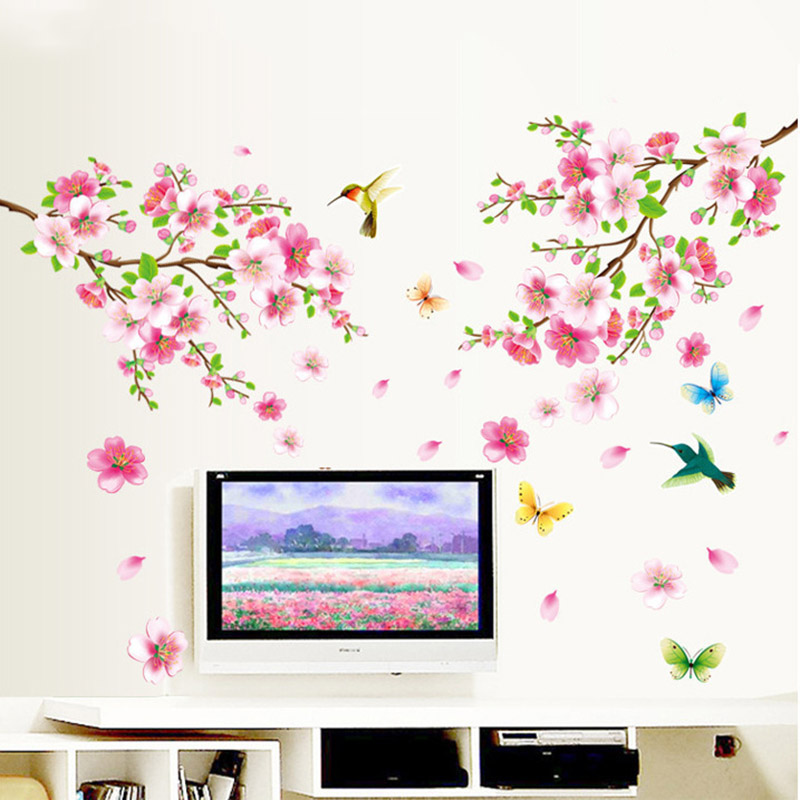 Spring Flower Bird Butterfly Wall Stickers Graceful Peach Blossom Birds Elegant Furnishings Romantic Living Room Home Decoration