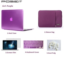 For Macbook Air 11 13 Pro Retina 12 13 15 TouchBar 13 15 Laptop Case Cover Shell+Sleeve Bag+Keyboard Cover+Screen flim+Dust plug сплит система shivaki ssh l 079 be