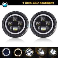 7 LED DRL H4 Halo Headlights For lada niva 4x4 suzuki samurai 7Inch LED Headlamps with Halo Ring Amber Turn Signal.