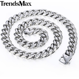 Image 5 - Trendsmax Matte Brushed Polished Necklace Mens Chain 316L Stainless Steel Cut Curb Cuban Link Silver Color Tone 15 mm KHNM18