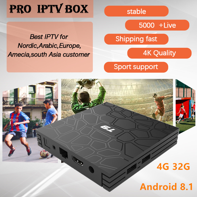 T9 Android TV BOX android 8 1 PRO IPTV subscription Nordic France Sweden Netherlands Portugal UK