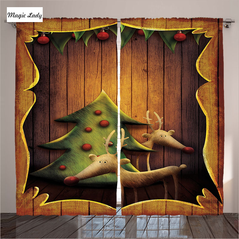 Cartoon Trees Curtains For Bedroom Cotton Linen Towel: Curtains For Children Wooden Planks Reindeers Cartoon
