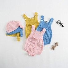 Baby-Mädchen-Kleidungs-Frühling strickte Mädchen-Bodys Baby-beiläufige Kleidung Unisexbaby-Bodysuit-Säuglings-Overall insgesamt Sleeveless