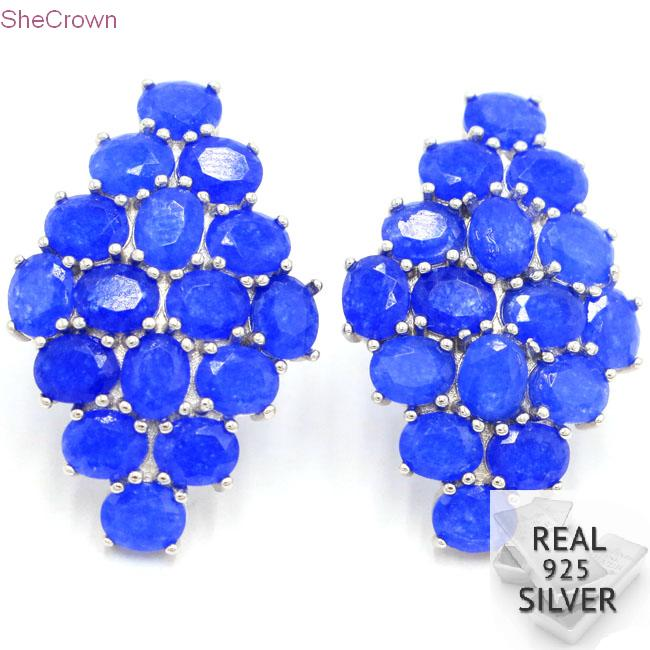 Real 6 76g 925 Solid Sterling Silver Romantic Real Blue Sapphire Wedding Ear Stud Earrings 34x23mm in Earrings from Jewelry Accessories