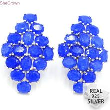 Real 6.76g 925 Solid Sterling Silver Romantic Blue Sapphire Wedding Ear Stud Earrings 34x23mm