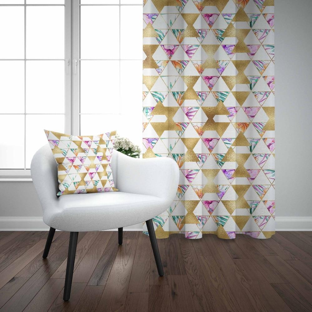 Autre or jaune Triangles vert violet Floral 3d décor imprimer salon chambre 1 panneau ensemble rideau combiner cadeau taie d'oreiller