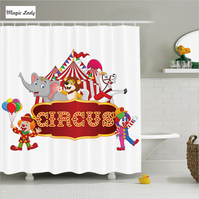 Shower Curtain Animal Print Bathroom Accessories Fun Circus Tent Nostalgic Carnival Party Red White 180200 Cm
