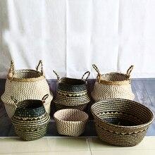 WHISM Seagrass Storage Basket Flower Pot Natural Rattan Basket Plant Pot Toys Holder Laundry Basket Container Home Decoration