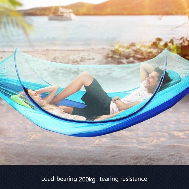 Parachute tissu anti moustique double hamac pliant hamac extérieur hamac léger et facile à transporter hamac Camping tente