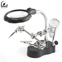 3 5X 12x Helping Hand Clip LED Light Magnifier Soldering Iron Stand Magnifying Glass Watch Repair