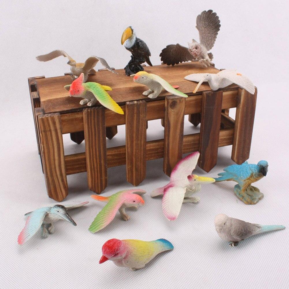 Birds Toy Model Dove/Parrots/Toucan/Seagull/Crane/Eagle/Egret Plastic Flying Animals Mini Figures
