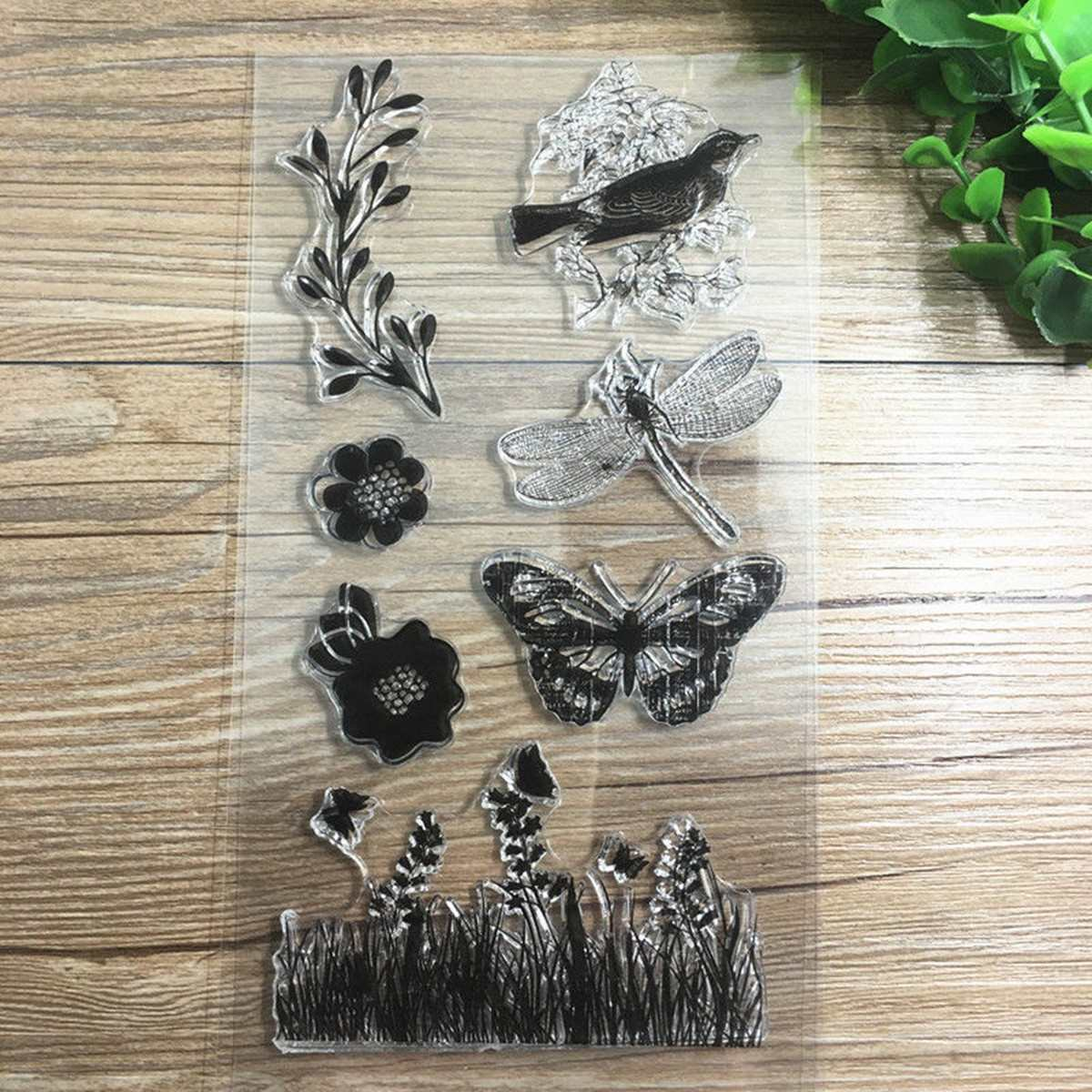 Rubber stamps for crafting - Kiwarm Grass Butterfly Dragonfly Birds Transparent Rubber Stamp For Scrapbooking Silicone Sheet Diy Home Craft Decoration