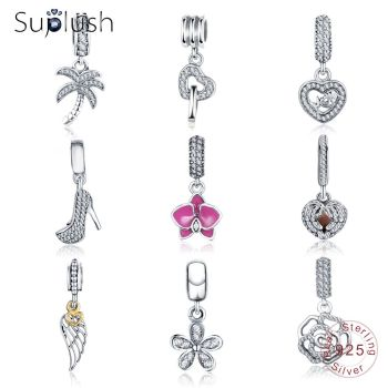 Suplush Hot Sale Genuine 100% 925 Sterling Silver Pendant Charm Beads Fit Original Brand Bracelet Wedding Jewelry for Women Beads