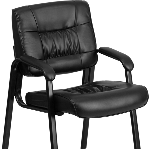 Flash Furniture Black Leather Guest / Reception Chair with Black Frame Finish black