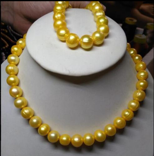 HOT AAA HUGE 11-12MM SOUTH SEA GENUINE GOLDEN PEARL NECKLACE 18 + BRACELET 7.5c >>>girls jewelry sets Free shipping