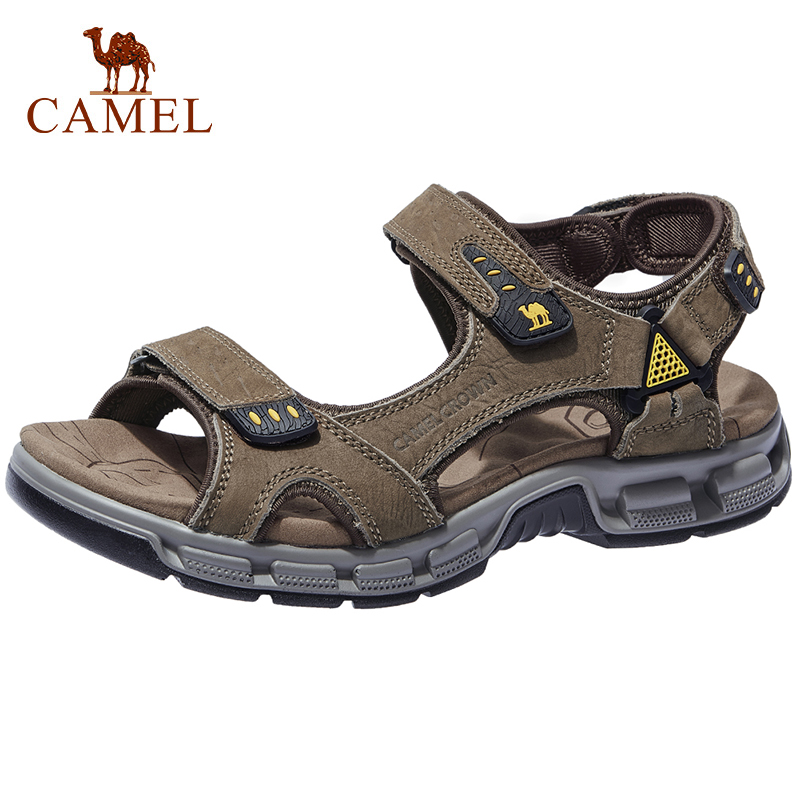 CAMEL Men s Sandals Summer Cowhide Leather Open Toe Casual Strap Fisherman Sandal Outdoor Hiking Walking