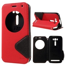 ROAR KOREA for Asus ZE500KG ZE500KL case View Window Leather Stand Shell for Asus Zenfone 2 Laser ZE500KG ZE500KL 5.0-inch-Red