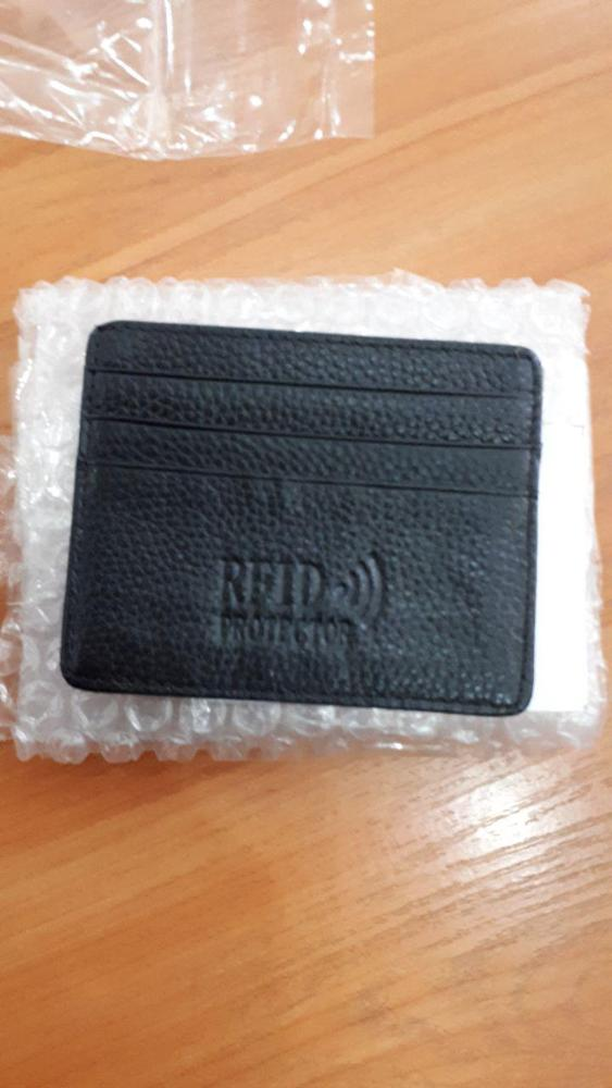 MRF12 RFID Blocking Slim Leather Wallet Cow Leather Front Pocket Credit Card Case Card Holder With ID Window Identity Protection photo review