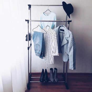 Deux niveaux debout vêtements séchage rack métal plancher cintre pas cher et de haute qualité