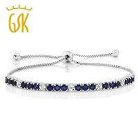 Genuine Blue Sapphire White Diamond 925 Sterling Silver Adjustable Bracelet