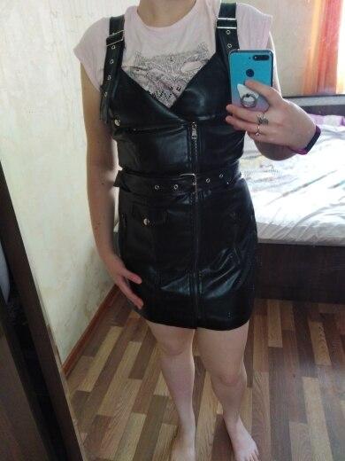 Women Leather Dress Soft Pu Faux Leather Dress V Nck Sexy Slim Retro Black Short Mini Dress Vestido De Festa photo review