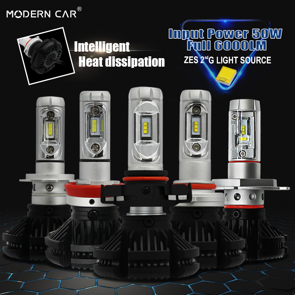 Modern Car Lumiled ZES Chips X3 <font><b>LED</b></font> Headlight Bulb H7 H11 <font><b>H3</b></font> H1 9005 9006 9012 H16 H4 H13 9004 9007 <font><b>Canbus</b></font> Headlights 6000LM/PCS image