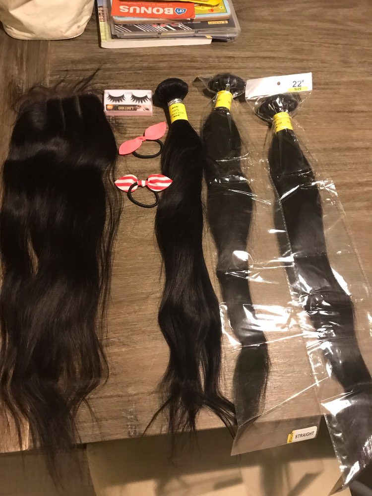 Queenlike 100% Human Hair Weave Bundles With Closure Non Remy Weft 2 3 4 Bundles Brazilian Straight Hair Bundles With Closure