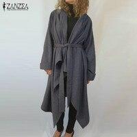 2017 ZANZEA Fall Winter Casaco Turn Down Neck Long Sleeve Lace Up Black Khaki Gray Cloak