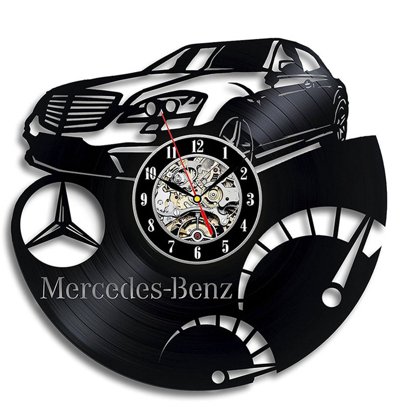 LED Record Wall Clock - Decorate Your Home With Modern Art - Gift For Men And Women, Girls And Boys - Mercedes Benz Vinyl