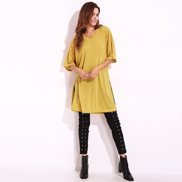 71072982607dc Women Summer Casual Mini Dress Plus Size Side Split V Neck Tee Shirt Dress  Short Sleeve Fashion Dresses Female Loose Top New 3XL